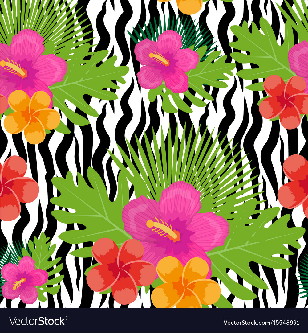 Tropical flowers plants leaves and animal skin