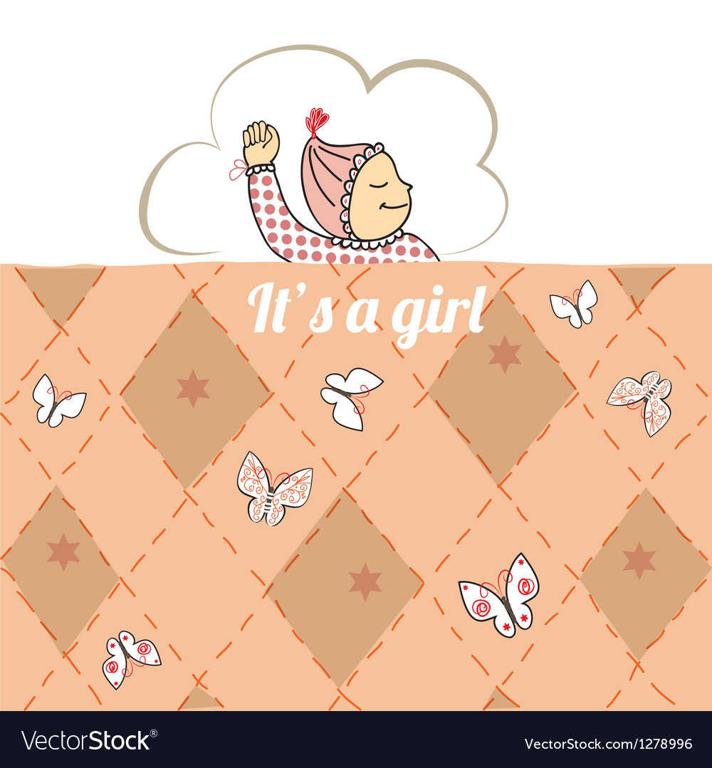 Baby shower card with little girl sleep