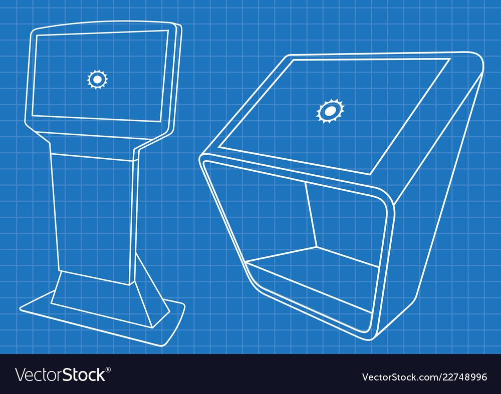 Blueprint of two promotional information kiosk