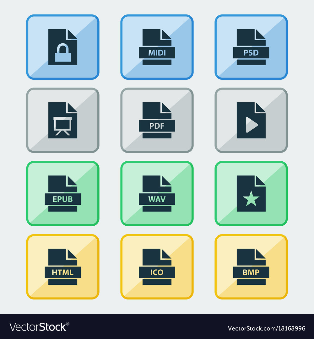 File icons set collection of protection audio