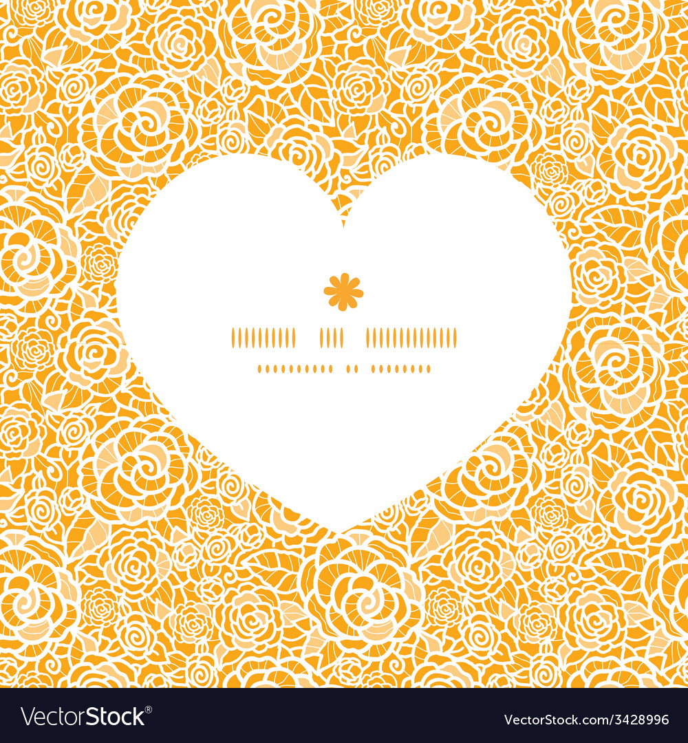 Golden lace roses heart silhouette pattern frame
