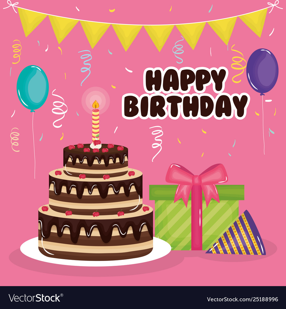 Surprising Happy Birthday Card With Cake T And Balloons Vector Image Funny Birthday Cards Online Alyptdamsfinfo