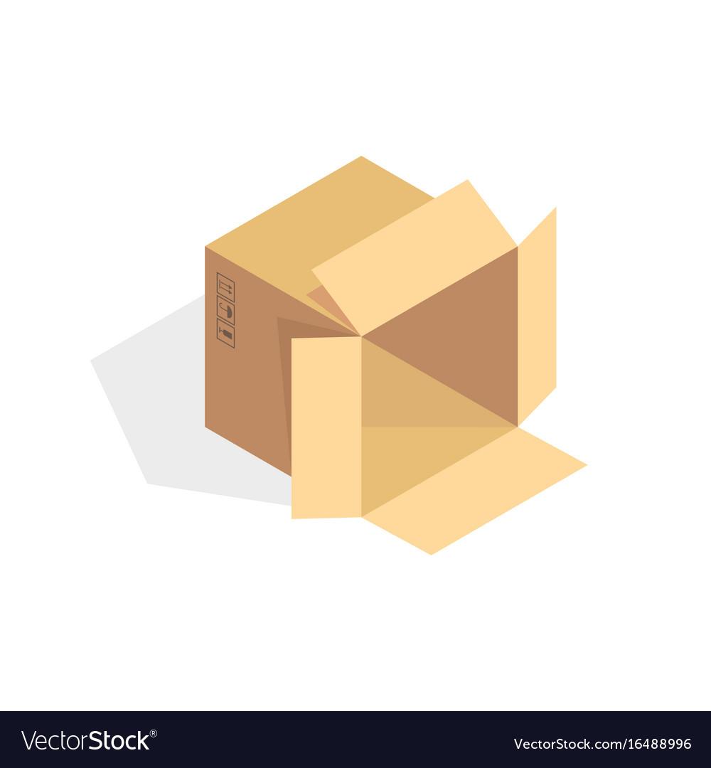 Isometric cardboard icon cartoon package box vector image