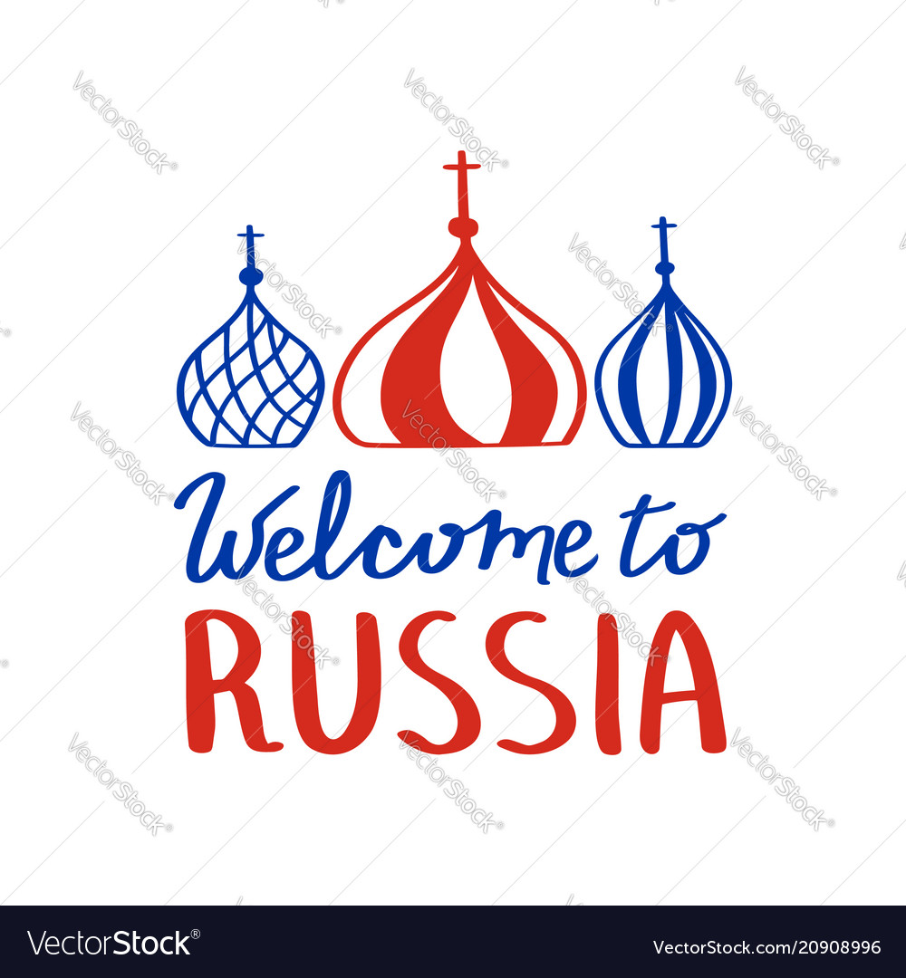 Minimalist design phrase welcome to russia l with