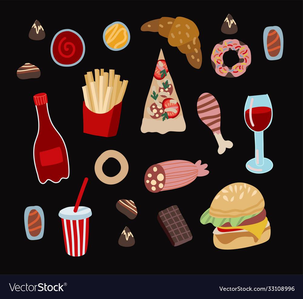 Set fast food such as hamburger donuts