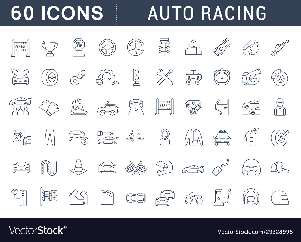 Set line icons auto racing