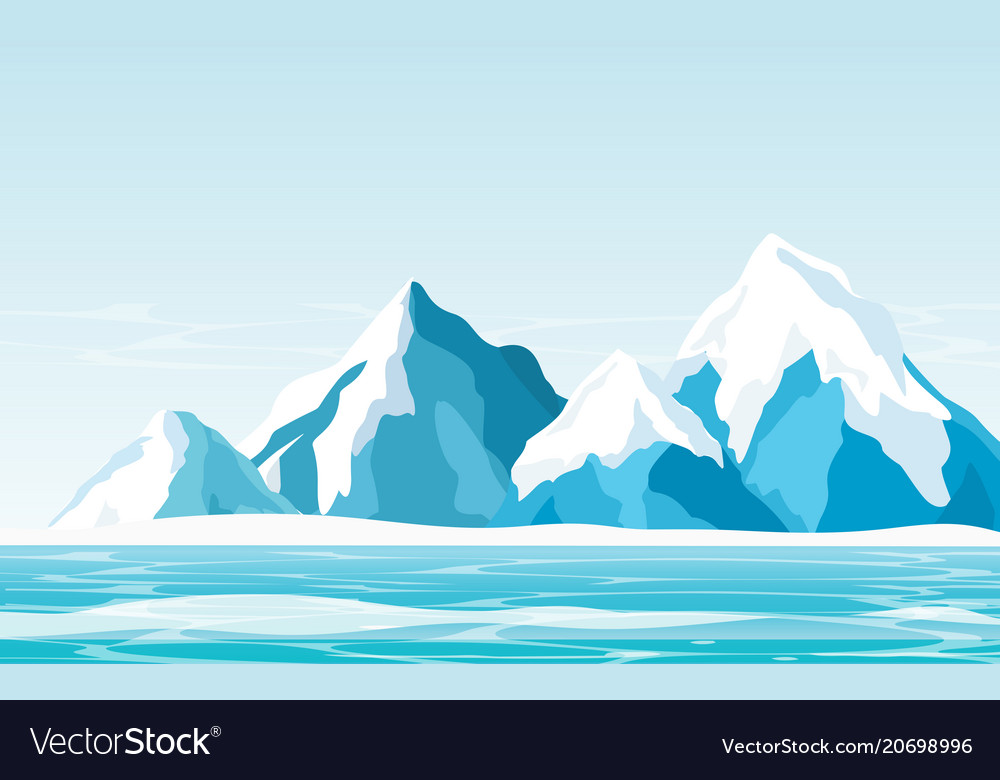 Snow mountains with ice
