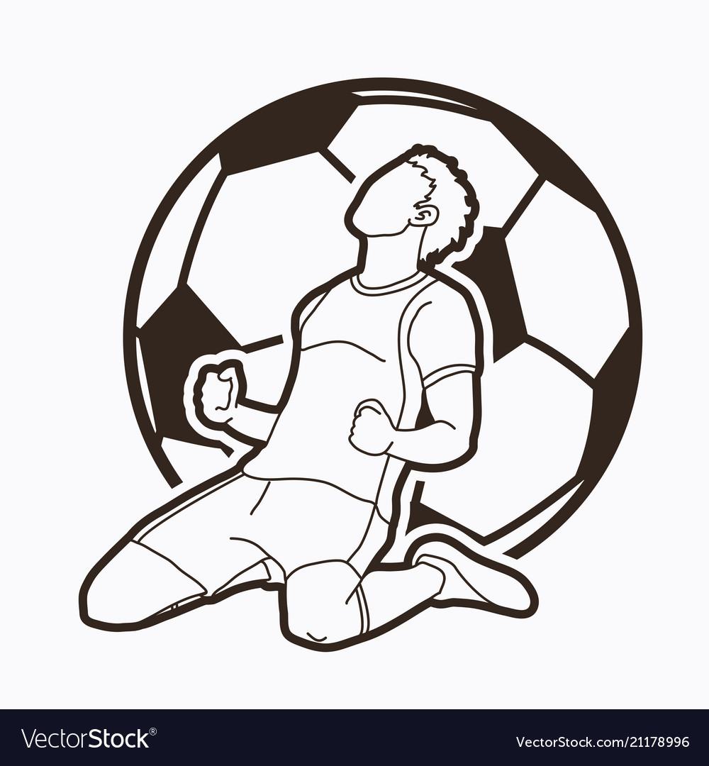 Soccer player the winner action outline