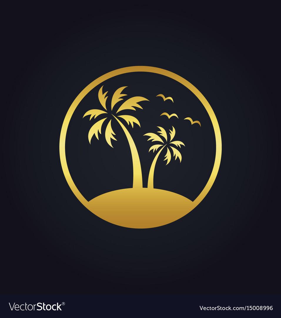 Sunset palm tree beach tropic gold logo vector image