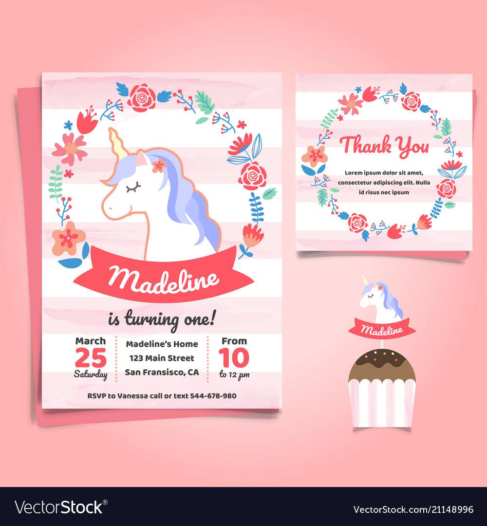 Unicorn Little Pony Theme Birthday Invitation Vector Image