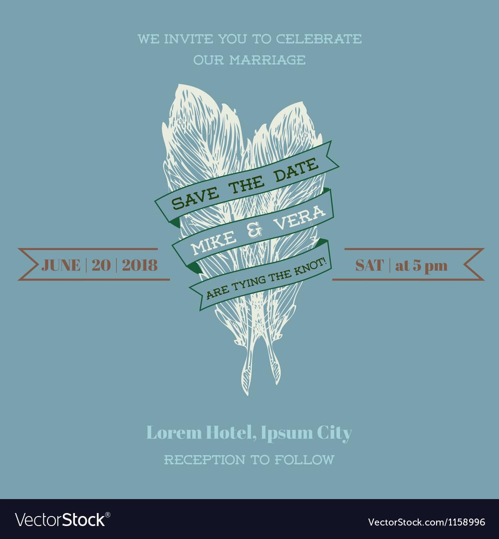 Wedding Vintage Invitation Card - Feather Theme vector image