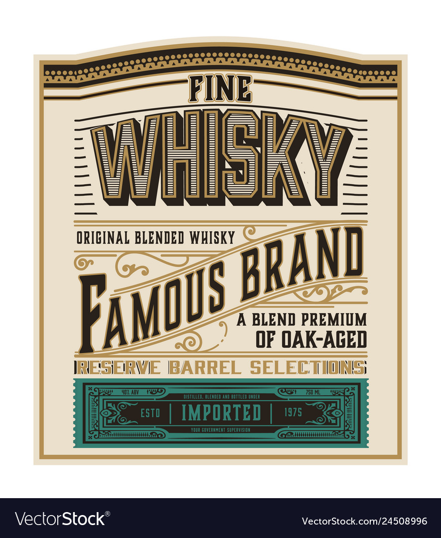 Whiskey label for packing layered