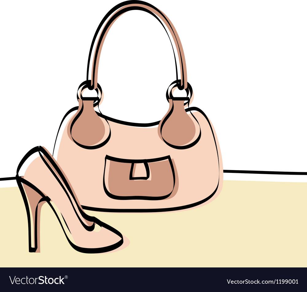 Abstract handbag and woman shoe
