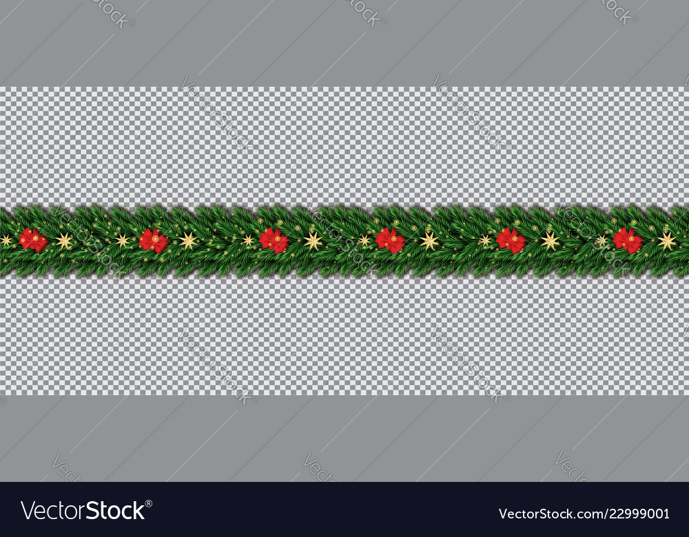 Border with christmas tree branches red bow and