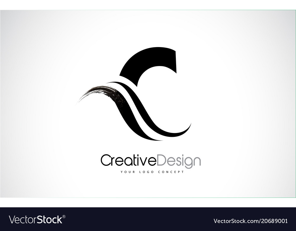 C letter design brush paint stroke