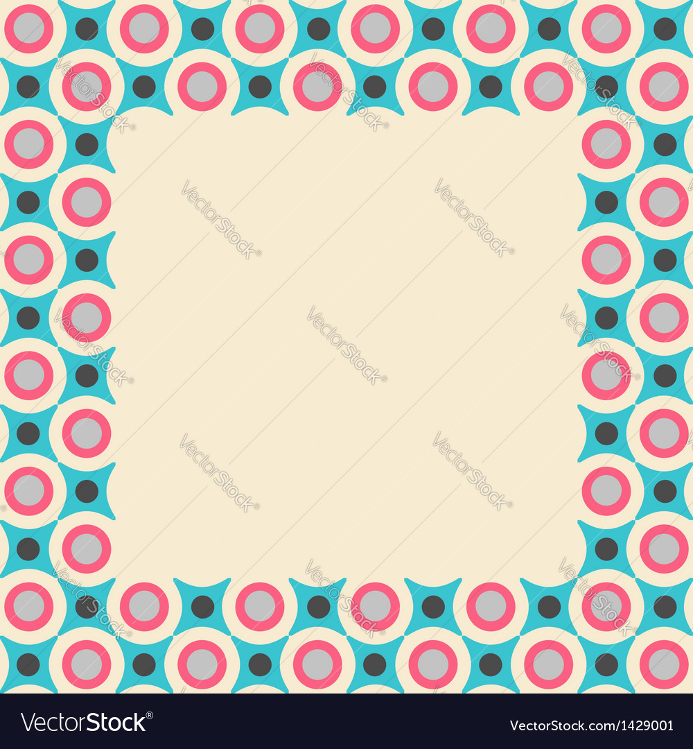 Card frame with geometrical pattern in retro