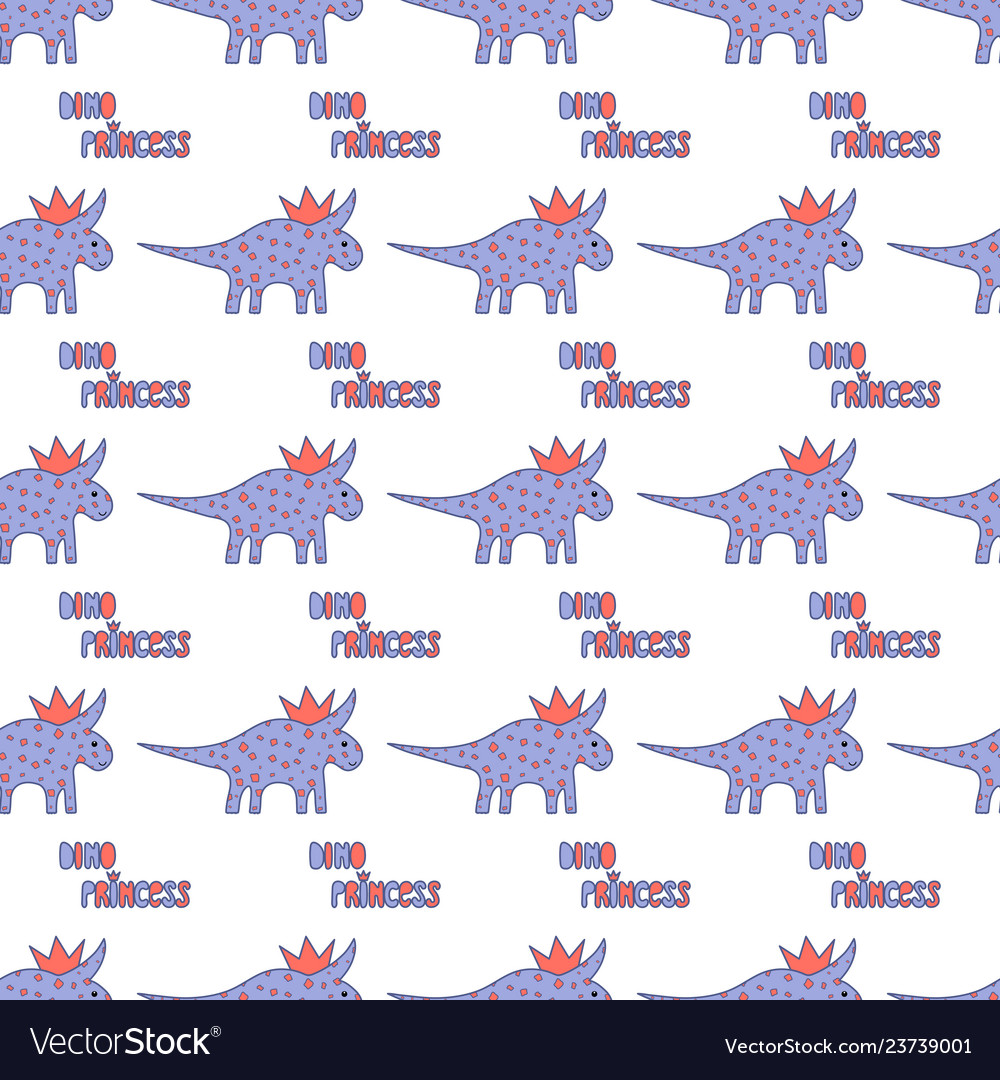 Cute dinosaurs with crowns seamless pattern on the