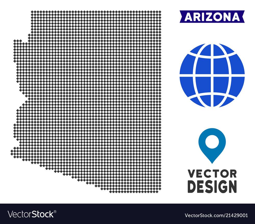 Arizona State Map Free.Dotted Arizona State Map Royalty Free Vector Image