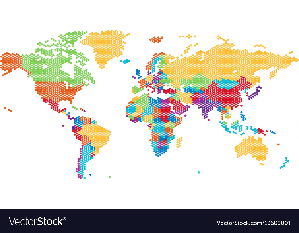 Dotted world map of hexagonal dots vector image