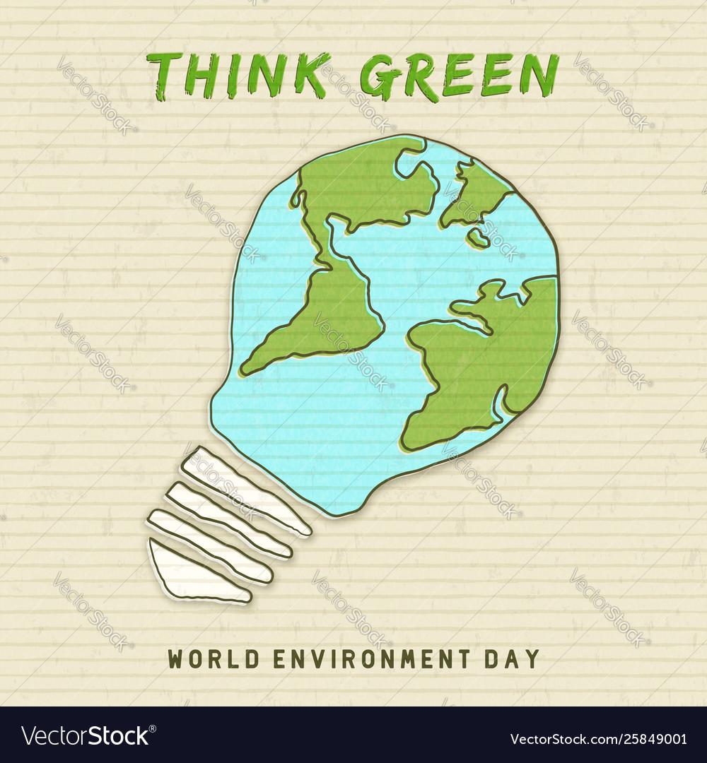 Environment day card earth map light bulb