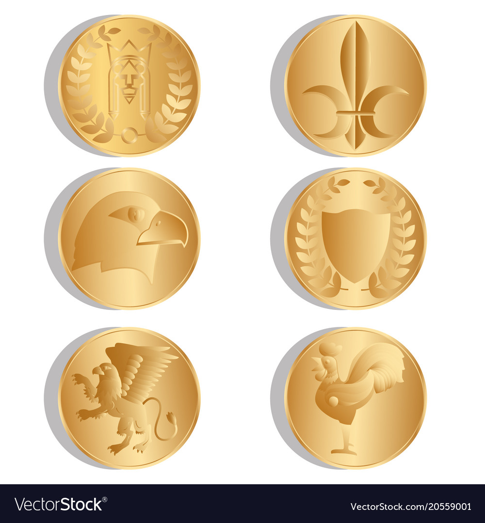 Golden ancient coins isolated white background