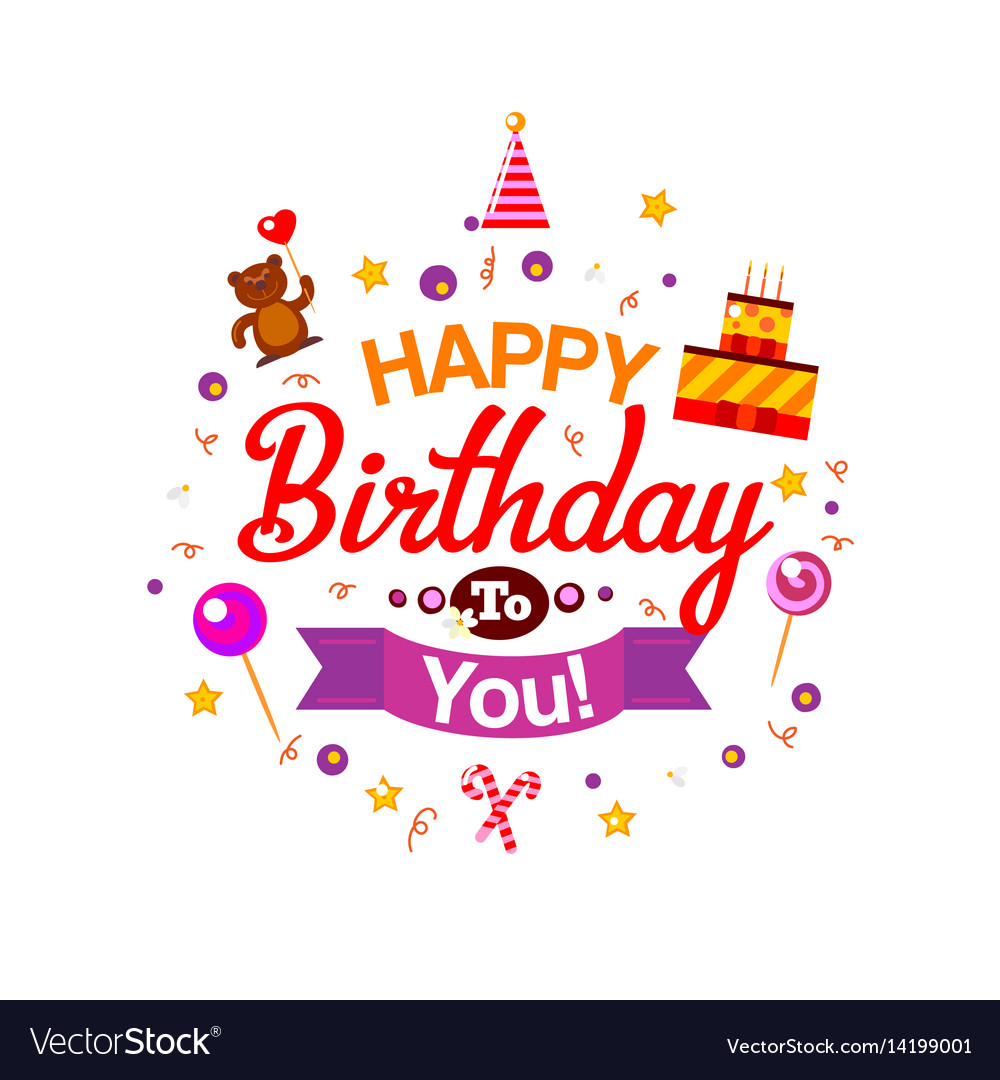 Happy Birthday Kids Typography Card Royalty Free Vector