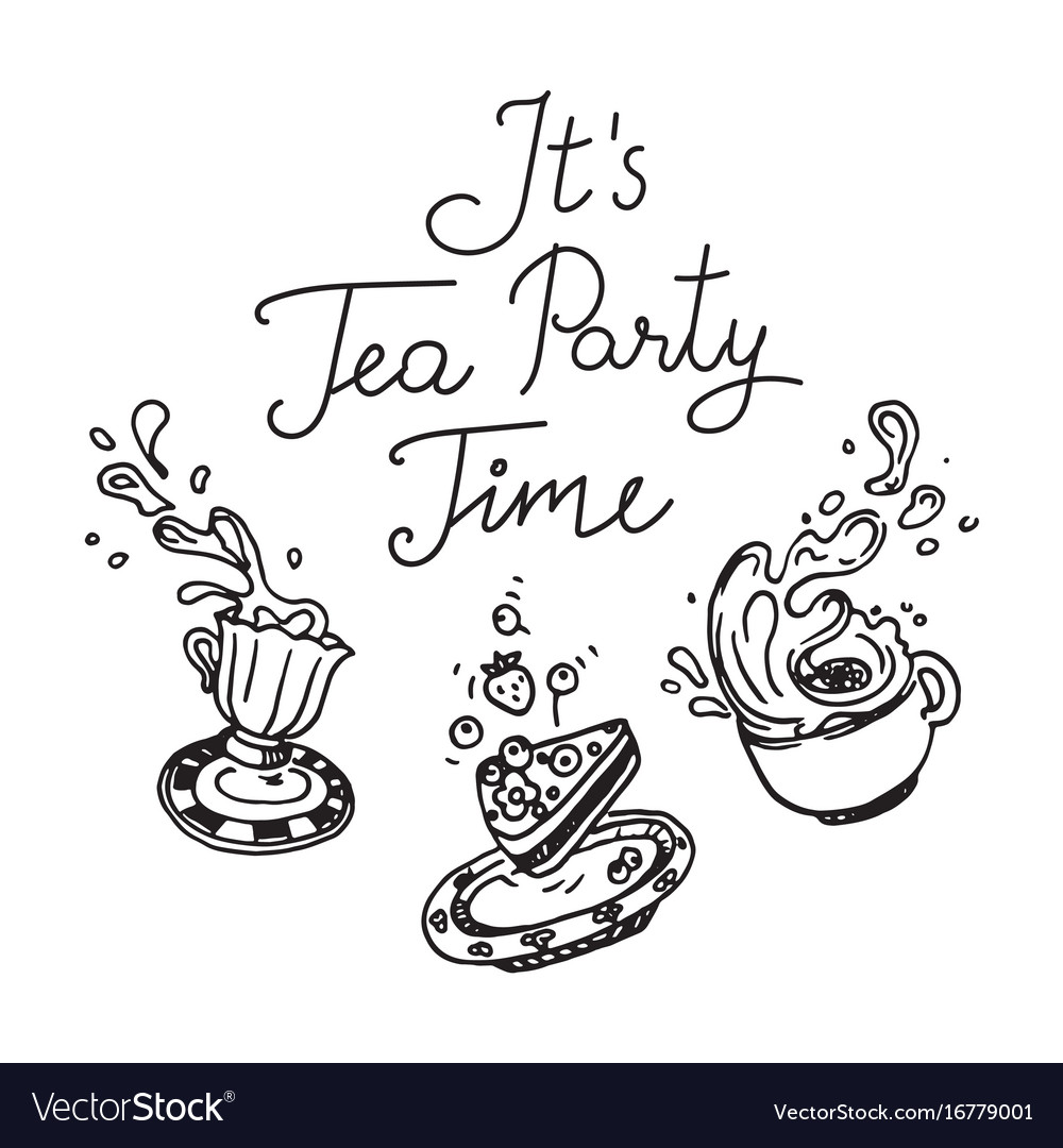 It is tea party time set of three hand drawn
