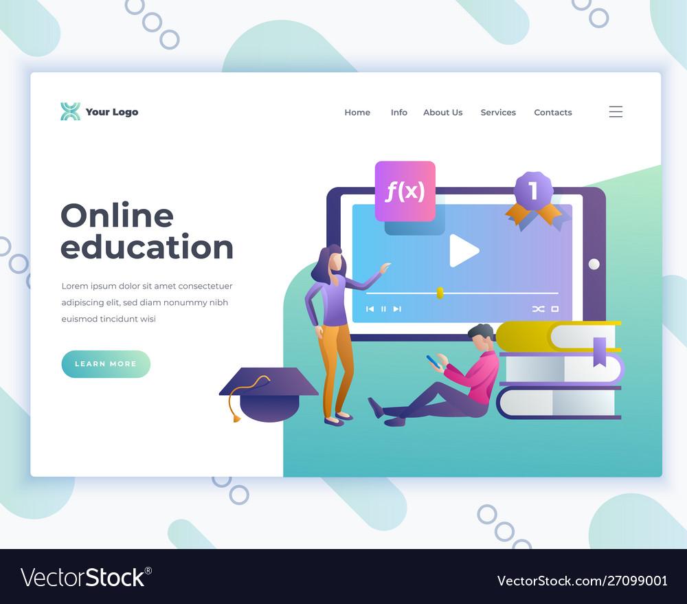 Landing page template online education concept