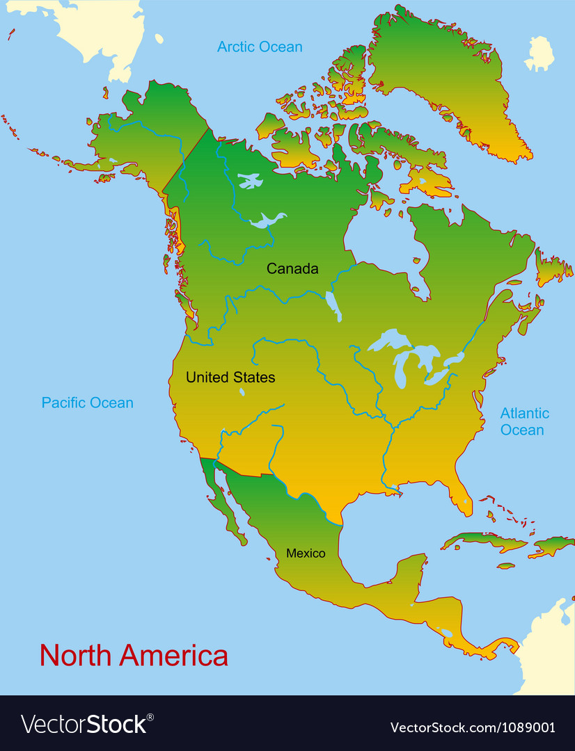 map of north america continent royalty free vector image