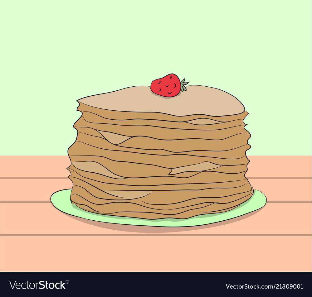 Plate with pancakes stands on a table