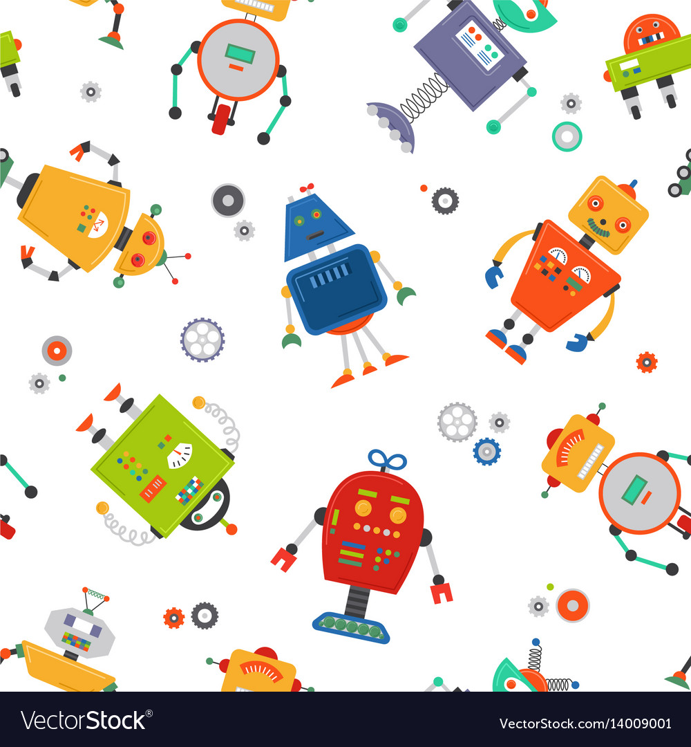Robots seamless pattern children robo background