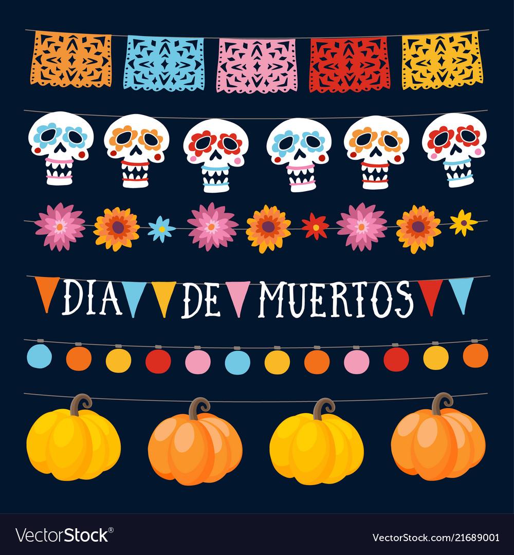 Set of dia de los muertos mexican day of the dead