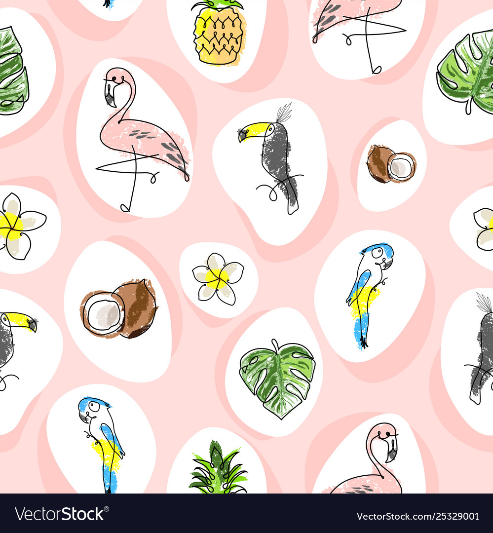 Tropical seamless pattern with cute hand drawn