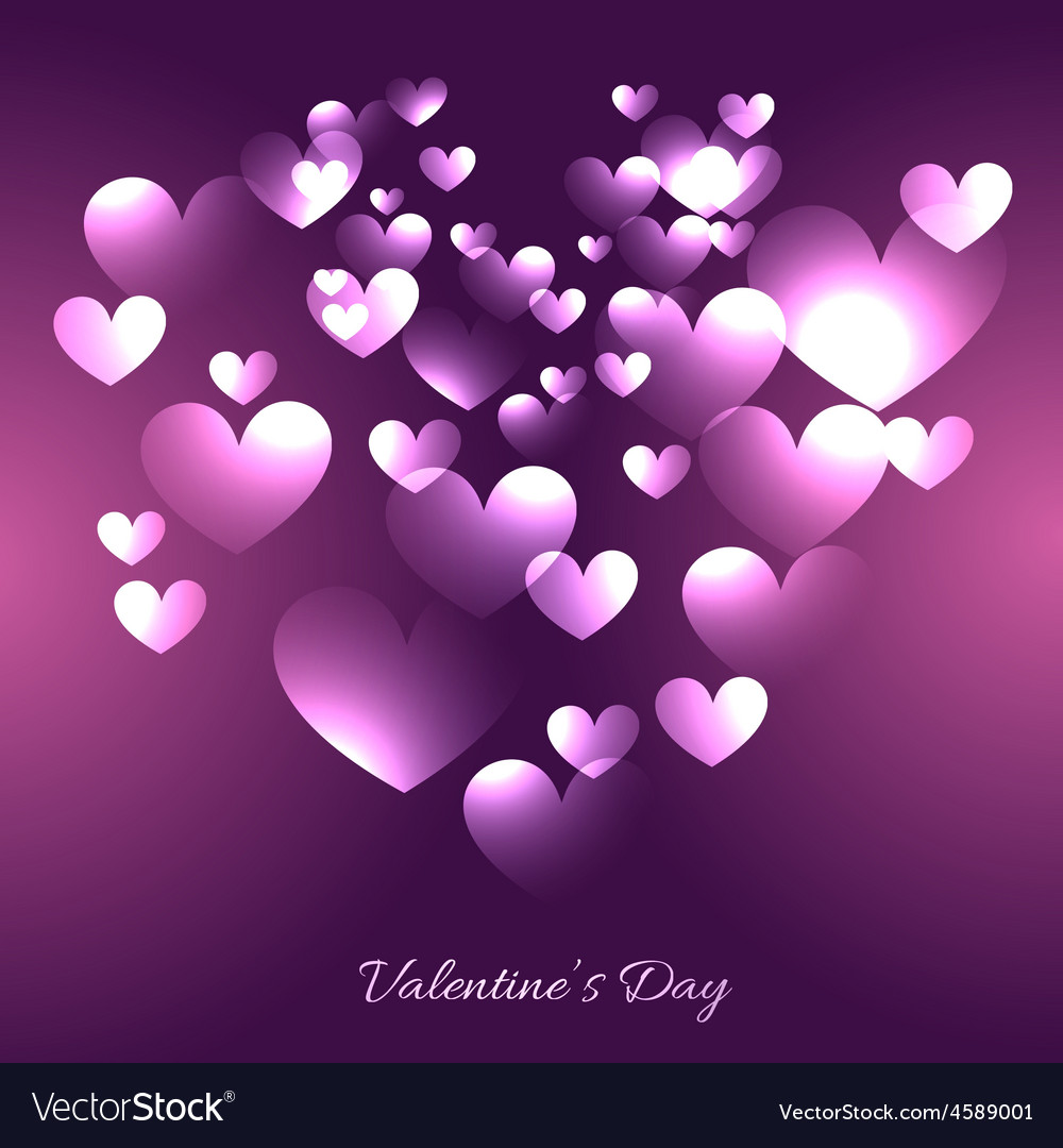 Valentine Day Hearts In Purple Background Vector Image