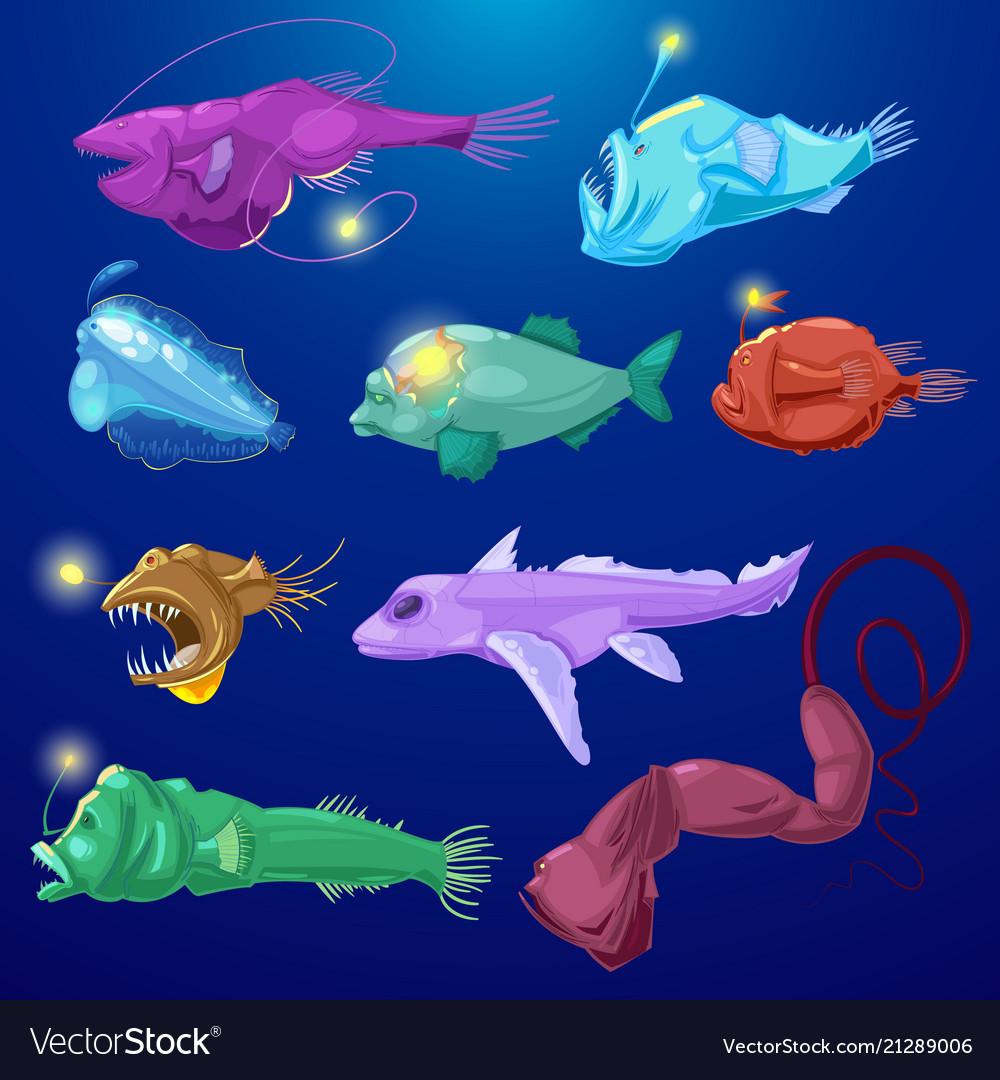 Angler fish seafish predator character with