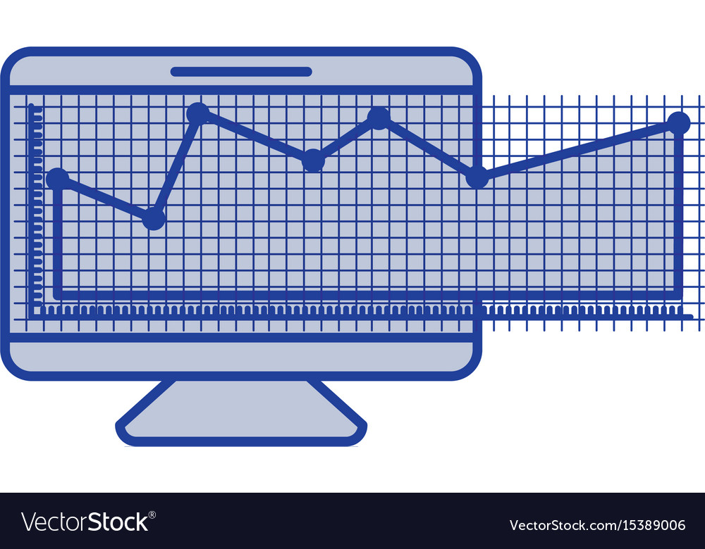 Blue silhouette of screen monitor and financial