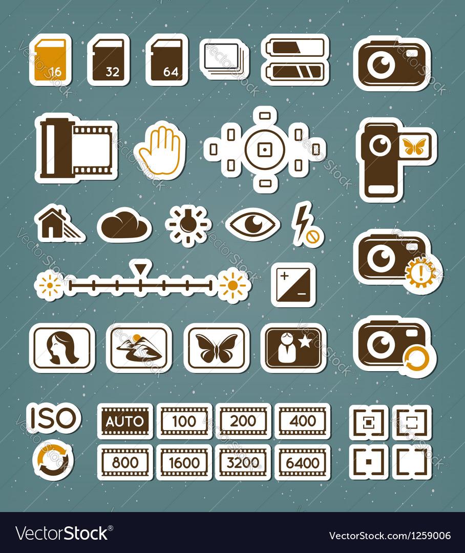 Camera screen icons set