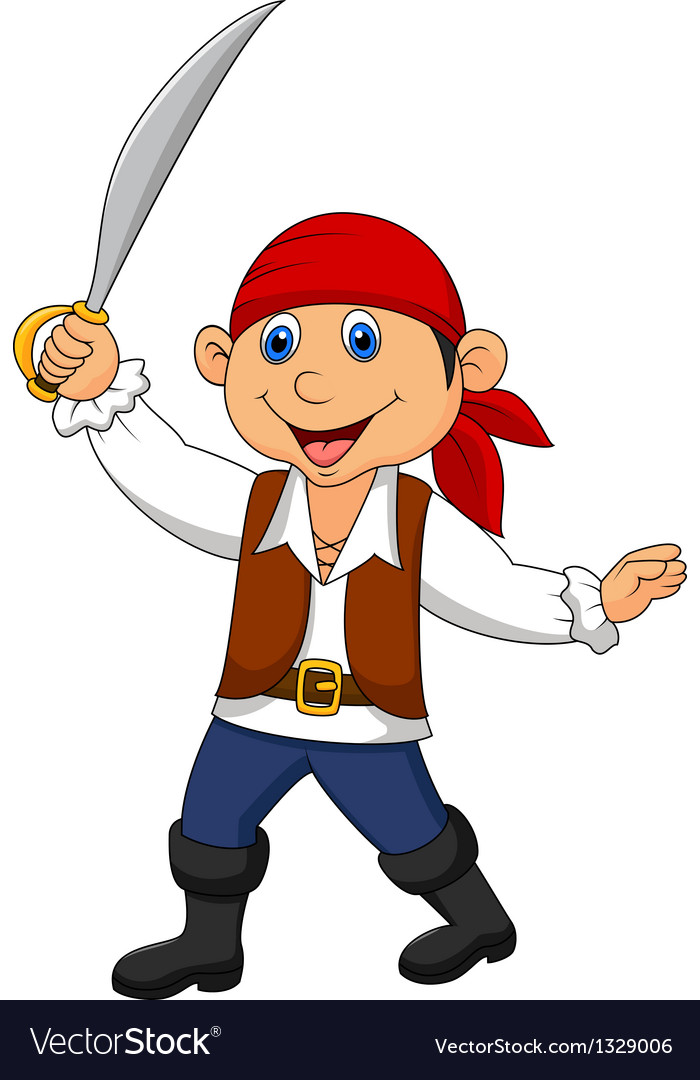Cute pirate kid cartoon vector image