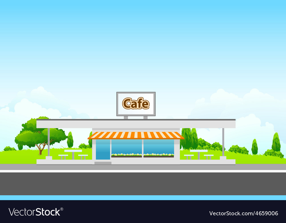 Green Landscape with cafe