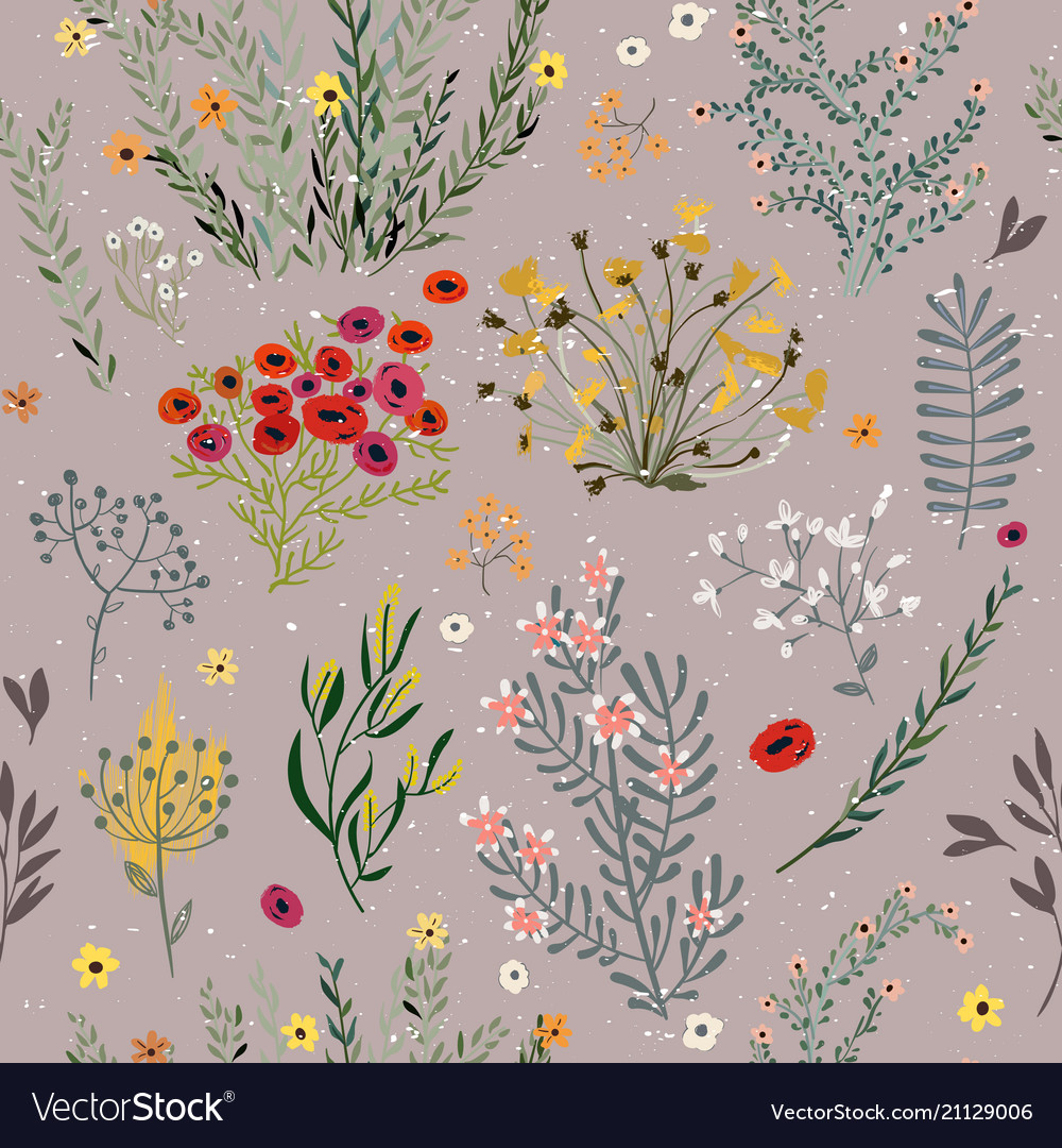 Pattern with doodle flowers