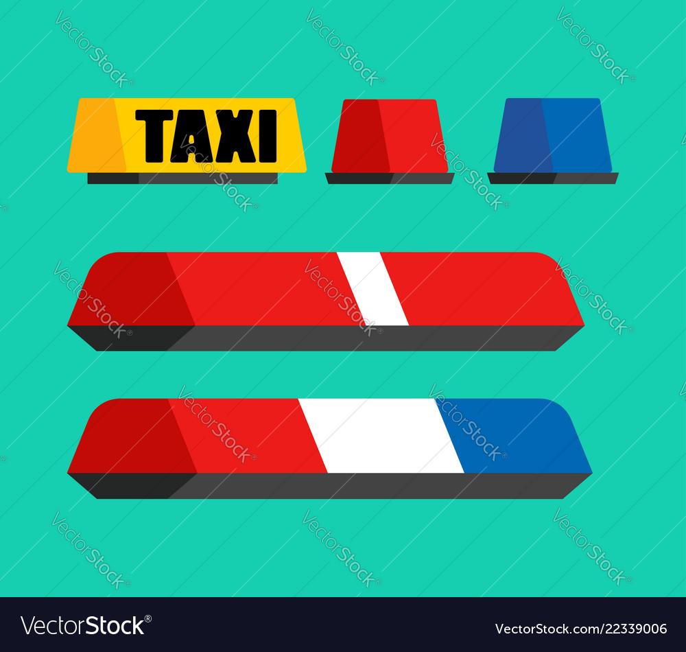 Police taxi and ambulance car flasher set car