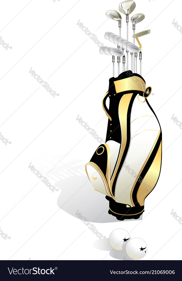 Realistic golf bag and clubs isolated on white