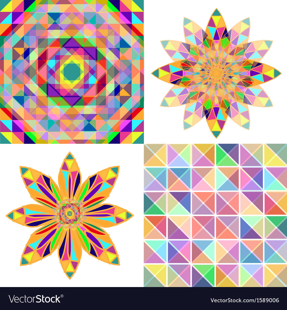 Set of four abstract background with geometric