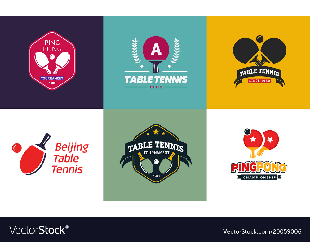 Set of vintage color table tennis logos and badges