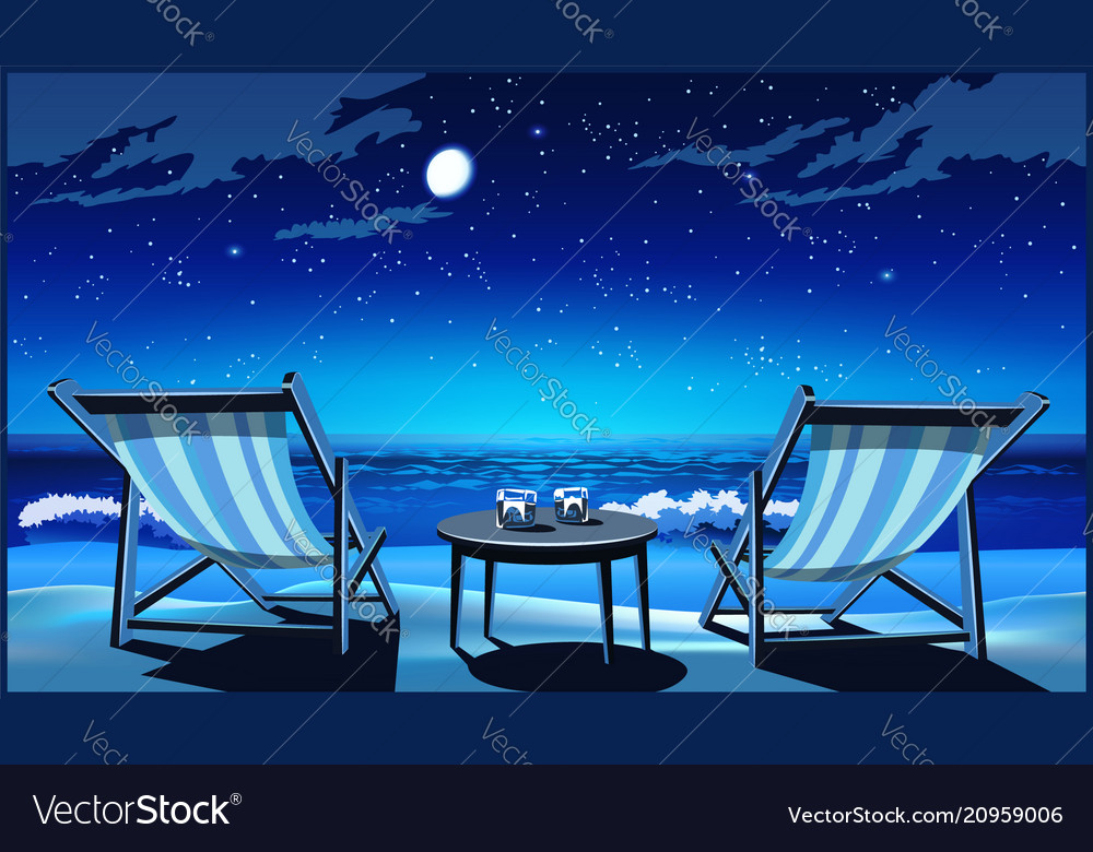 Two chaise lounges on the beach at night