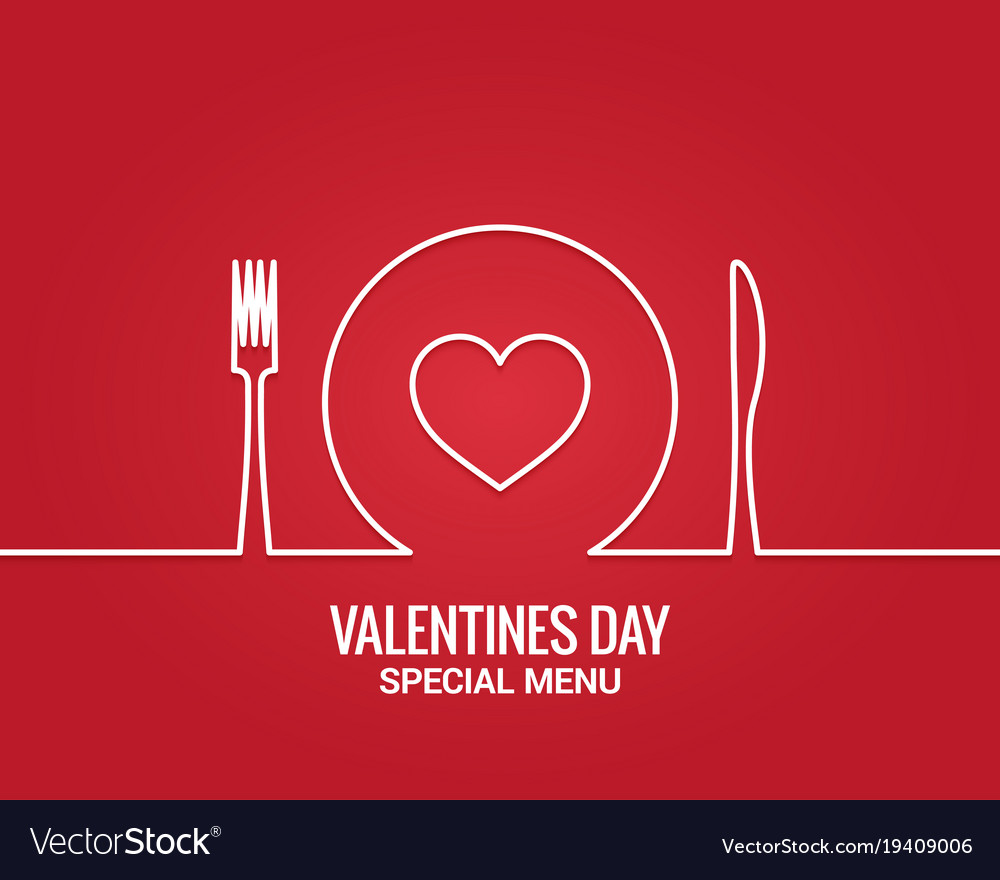 Valentines day menu fork and knife with plate