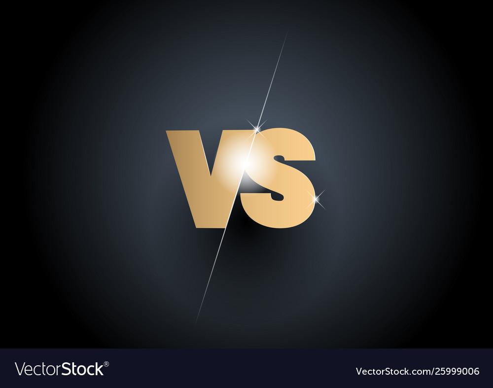 Versus sign gold 3d symbol
