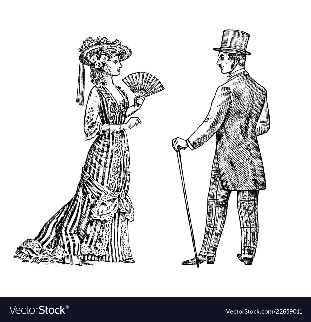 Antique ladie and man victorian dame and