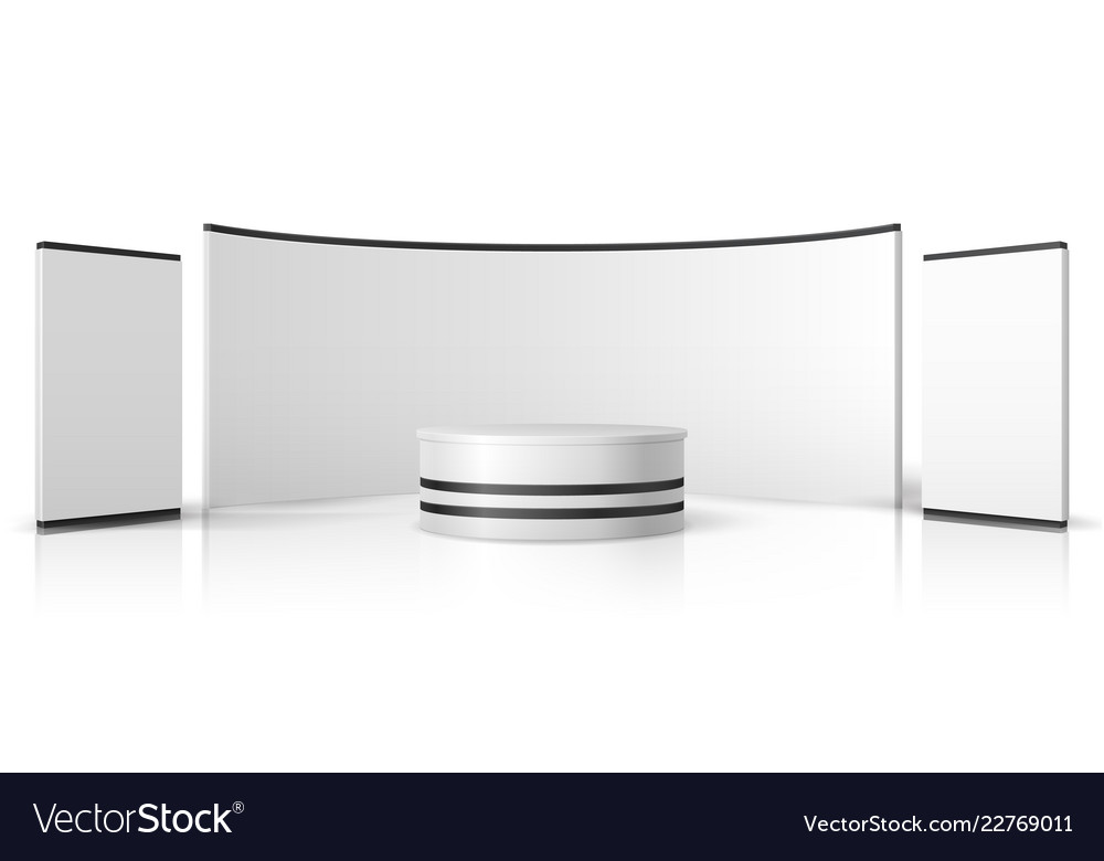 Exhibition Booth Blank : Blank trade show booth white empty exhibition vector image