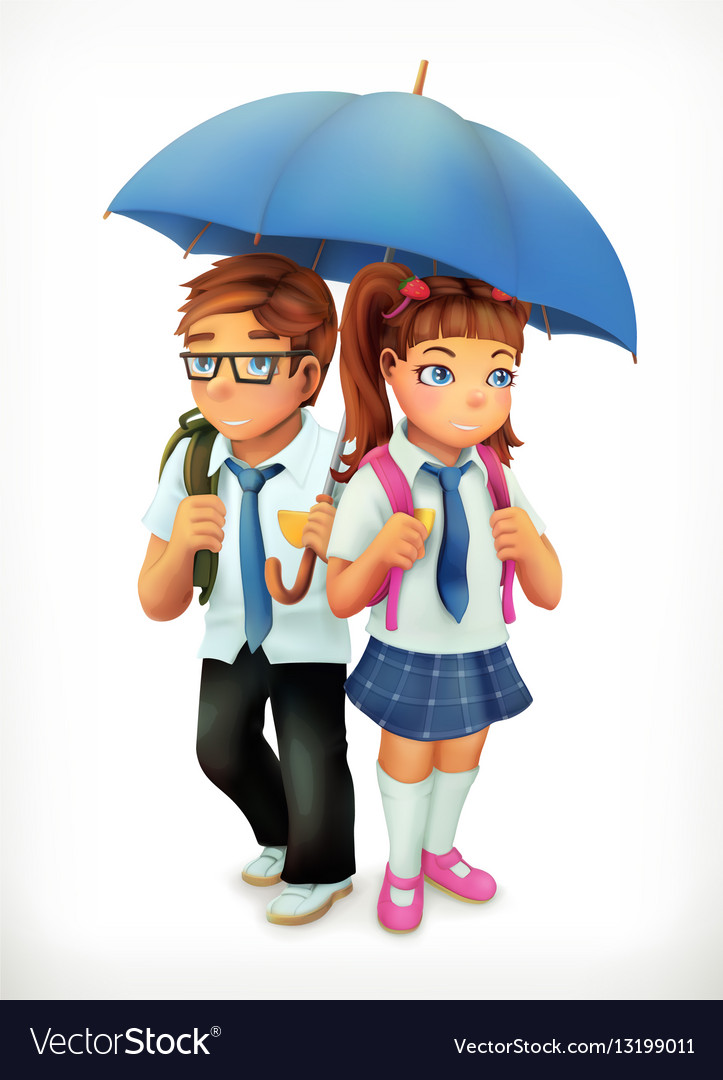Boy and girl under an umbrella Pupils cartoon vector image